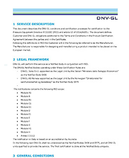 DNV GL PED Certification rules