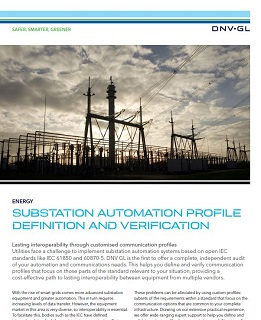 Substation automation profile definition and verification